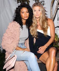 Chanel Iman and Nina Agdal at the lavish IMG and Target New York Fashion Week kickoff party at the Park at Moynihan Station.