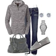 northface sweater, jeans, toms