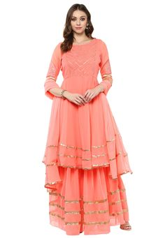 Embroidered Yoke Georgette Flared Suit in Peach Indian Gowns Dresses, Indian Fashion Dresses, Indian Designer Outfits, Pakistani Dresses, Indian Outfits, Frock Fashion, Indian Clothes, Fasion, Salwar Kurta