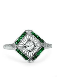 The Adita Ring in 18k White Gold with Diamonds & Emeralds