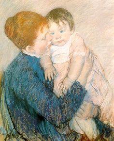 "MARY STEVENSON CASSATT 1845-1926 Agatha and Her Child, 1891 Pastel on paper, 26 x 2 1 "" (66.04 x 53.34 cm"