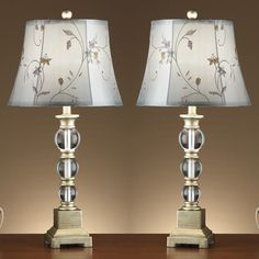 Modern Set of 2 Table Lamps Polyresin Crystal Ball Decor w/ Floral Pattern Shade