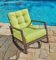 SUNCROWN Outdoor Furniture Patio Rocking Chair All-Weather Wicker Seat with Thick, Washable Lime Green Cushions, Smooth Gliding Rocker with Improved Stability