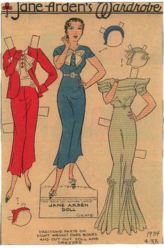 "JANE ARDEN COMIC STRIP PAPER DOLL. ""...I find it very interesting that back in the 1930′s they wore hats with the formal dresses and in researching for designing in the Round Robins, I find a lot of the formal dresses had the half diamond shape inserts above the waistline...."""