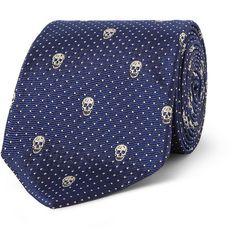 Alexander McQueen Skull-Embroidered Silk Tie in Blue