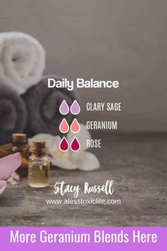 balance yourself with this delightful diffuser blend of geranium, clary sage, and rose essential oils. DIY uses of geranium oil. Essential Oils For Pain, Essential Oil Scents, Essential Oil Perfume, Essential Oil Diffuser Blends, Essential Oil Uses, Rose Geranium Essential Oil, Clary Sage Essential Oil, Geranium Oil, Organic Fertilizer