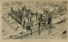 Le #Louvre vu d'avion... oui mais sous Charles V (XIVe s)! @MuseeLouvre #Paris #histoire #tourisme @museecarnavalet