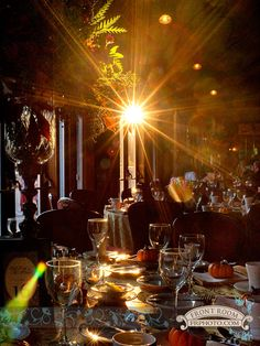 Hana & Ryan's table setting at their fall wedding reception at the Wisconsin Club with awesome light coming in through the window. Photo by: FRP