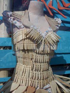 Anthropologie inspired clothespin dress - Repurposed Fashion | Trashion | Refashion | Upcycled Fashion