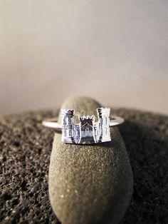 tiny castle ring sterling castle ring skinny by AurumgirlStudio