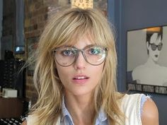 Maybe the shape is off for my face, but the color is rad. #Anja Rubik in vintage frames from Mistaken Perfections blog; Silver Lining Opticians in New York.