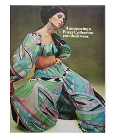 1967 Emilio Pucci Mod Harem Fashion Bath Collection Ad
