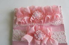 Peach Bridal Garter Ruffled Garter Lace Garter by LadyBugSewn