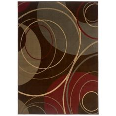 This contemporary brown area rug will look classy in any living room or dining room. The abstract design is made from a blend of brown, green, red, and ivory that is sure to complement most interior color schemes. The rug measures 5' by 7'6'.