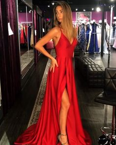 Cheap Long Prom Dresses Red, A-line V-neck Formal Evening Dresses with Slit. - 2019 Cheap Prom Dresses On Sale V Neck Prom Dresses, Grad Dresses, Prom Dresses Online, Cheap Prom Dresses, Formal Evening Dresses, Ball Dresses, Ball Gowns, Wedding Dresses, Red Satin Prom Dress