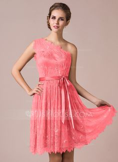 A-Line/Princess One-Shoulder Knee-Length Lace Bridesmaid Dress With Bow(s) (007056818)