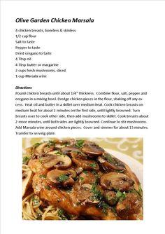 Olive Garden Chicken Marsala