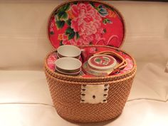 Vintage Chinese Tea Set in Basket 4 cups