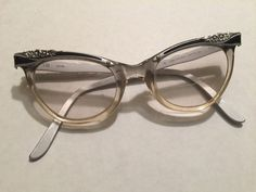 American Optical Women's Cat Eye Eyeglasses- Aluminium Clear Engraved Flowers  #AMERICANOPTICAL #CatEye