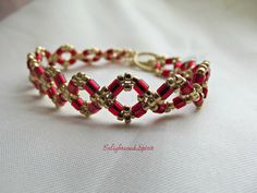 Red and gold bracelet crimson ruby cranberry by EnlightenedSpirit
