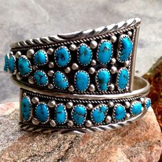 """OML!! Old Pawn Navajo Sterling Turquoise Cuff Authentic Old Pawn Navajo ( signed IC, Doesn't look like Navajo Irvin Chee's, does look like Irene Chiquito's Work, many IC Navajo stamps from Tuba City, AZ area. Was authenticated for me, came from NM, but could have traveled from Arizona, had fun tracing history!) Made for a Smaller Wrist, who likes a BIG Look! 2.25"""" Across, 1"""" Gap, (approx 6 3/8"""" total Cir.) 1 5/8"""" Wide in Front, Marked Sterling, 38.3g Old Pawn Navajo Jewelry Bracelets"""