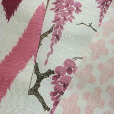 Hand Printed Grasscloth Wallpapers #bernardthorp #madeinlondon #madeinengland #handscreenprinted #sisal #texturedpaper #naturalwallpaper #pink #chelsea #masterartisans
