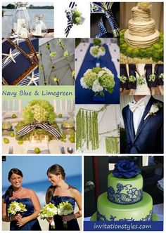2014 Wedding Colors Trends-Navy Blue and Limegreen wedding ideas