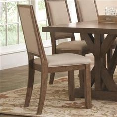 Bridgeport+Rustic+Solid+Wood+Upholstered+Side+Chair