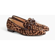 J.Crew Academy loafers in calf hair (€210) ❤ liked on Polyvore featuring shoes, loafers, loafers moccasins, calf hair loafers, leopard loafers, leopard shoes and bow loafers