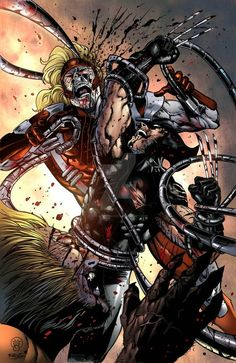 Sabertooth vs Wolverine vs Omegared (colored) by on DeviantArt Comic Book Characters, Marvel Characters, Comic Character, Comic Books Art, Comic Art, Hq Marvel, Marvel Comic Universe, Comics Universe, Marvel Heroes