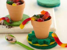 Dirt Cups  Ingredients  2 cups of cold milk  1 package (4 serving size) instant pudding (chocolate flavor)  3-1/2 cups (8 ounce container) whipped topping, thawed  1 package (16 ounces) chocolate sandwich cookies(crush them into tiny pieces in a plastic bag)  Gummy worms or insects