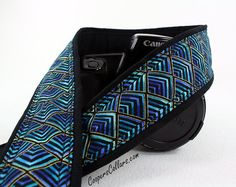 Peacock Plume Camera Strap Teal Green Aqua Gold by CoopersCollars, $26.00