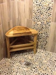 polished cobblestone pebble tile   river rock shower, rock shower