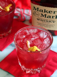 A tasty cocktail from Makers Mark - the Lady in Red has bourbon, pomegranate and ginger beer.