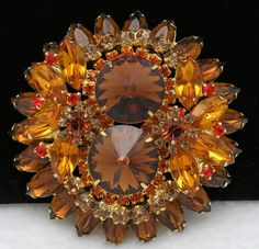 Vintage D E Juliana Brown Gold Orange Rhinestones Rivoli Layered Cluster Brooch | eBay
