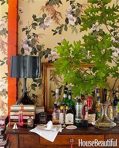 vintage bar - love this wallpaper - ladies bathroom?