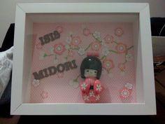 Enfeite para porta de maternidade - Tema: Sakura e Kokeshi (Isis Midori) #enfeitematernidade #babygirl #sakurababy