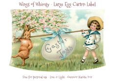 I had saved a few of the larger pink egg cartons (12-pack) too, so I decided to create a set of labels for those as well, using the fabulous Easter Joy images: My Easter Egg Cartons are filled with…