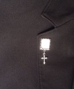 Memorial photo lapel pin with cross pearl or by SmilingBlueDog