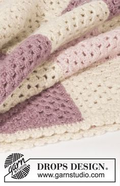 """Virkad DROPS filt med mormorsrutor i """"BabyAlpaca Silk"""" Gratis mönster från DROPS Design."""