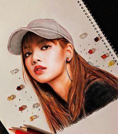 Whatttttt this is a drawing? So pretty Kpop Drawings, Art Drawings Sketches, Horse Drawings, Drawing Art, Manga Drawing, Blackpink Lisa, Fanart Kpop, Kreative Portraits, Foto 3d