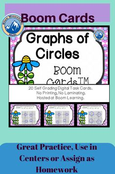 Boom Cards™ are a great way for students to practice every day skills In this 20- card deck, students practice identifying the correct graph that matches the given equation of a circle.This set of Boom Cards features different Digital Self-Checking Task Cards. (No printing, cutting, laminating, or grading!)