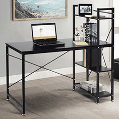 Cheap TANGKULA Computer Desk Modern Style Writing Study Table with 4 Tier Bookshelves Home Office Compact Multipurpose Workstation(Brown) Home Office Desks, Home Office Furniture, Office Table, Black Furniture, Storage Shelves, Storage Spaces, Small Computer, Computer Desks, Gaming Desk