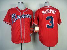 MLB ATLANTA BRAVES #3 MURPHY RED(2014 NEW) JERSEY FJ(COOL BASE)