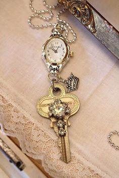 key clock necklace