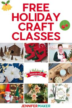 Signup for free holidays classes at the Holiday Maker Fest, November 4-8, 2020 #cricut #glowforge #sewing Do It Yourself Crafts, Crafts To Make, Holiday Crafts, Holiday Fun, Holiday Decor, Diy Craft Projects, Craft Tutorials, Project Ideas, Cricut Craft Room