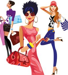 chicas lindas de compras vectorial