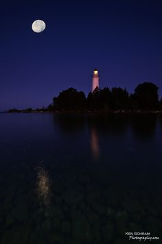 The Cana Island Lighthouse in Wisconsin's Door County Peninsula.