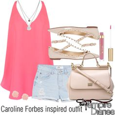 Caroline Forbes inspired outfit/TVD by tvdsarahmichele on Polyvore featuring Lavender Brown, MANGO, Valentino, Dolce&Gabbana and Kenneth Cole