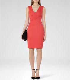 Womens Cardinal Fitted Dress - Reiss Aleana